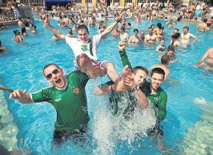 From left, Irish fans Paddy McKeown, John Dillon, Seamus Healy and Kieran Long at the Szechenyi Baths in Budapest yesterday ahead of Ireland's warm-up game tonight
