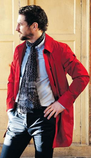 Trench, €1,105, Burberry; floral scarf, €145, D&G; shirt, €270, and navy trousers, €370, both Gucci