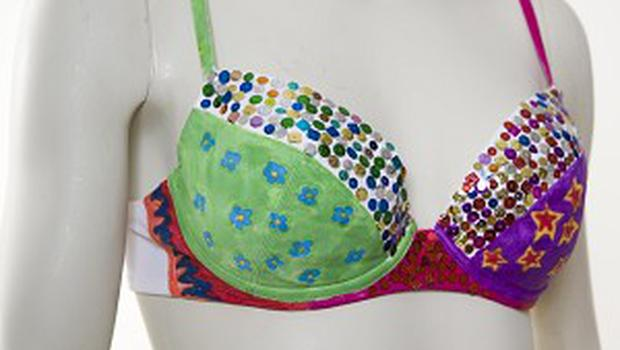 A bra designed by actress Isla Fisher in aid of breast cancer charity Cancerkin