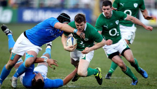 ROME - FEBRUARY 05:  Brian O'Driscoll of Ireland is tackled during the RBS 6 Nations Championship match between Italy and Ireland at Stadio Flaminio on February 5, 2011 in Rome, Italy.  (Photo by Scott Heavey/Getty Images)