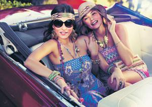 (Left): Maxi dress, €70; 'Marrakech' necklace, €20; set of five bracelets, €15.50; cuff, €13.50; bandana, €12; sunglasses, €25.50; earrings, €20 (Right): Dress, €51; hat, €37; 'Amalfi' pendant and crystal chain necklace, both €17; beaded bracelets, €13.50; turquoise bracelet, €12; earrings, €12; crossbody bag, €51, all from Accessorize