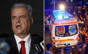 An ambulance carrying former Romanian Prime Minister Adrian Nastase speeds away after he allegedly tried to commit suicide in his house in Bucharest. Photo: Getty Images