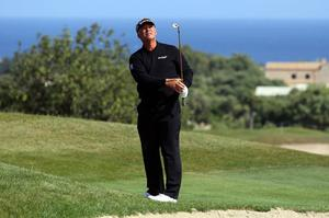 Darren Clarke chips onto the 17th green during day four of the Iberdrola Open at Pula Golf Club, Mallorca. Photo: Getty Images