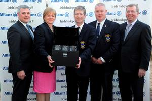 Wicklow were winners of the Allianz-Irish Independent Executive Trophy event at Portmarnock Hotel and Golf Links. From left: Sean McGrath, director of sales and operations at Allianz, Mairead Dowling, Wicklow lady captain, Keith Clarke, president, David Delaney, captain, alongside Liam Kelly of the Irish Independent.