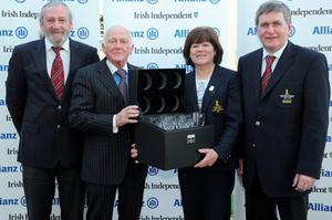 Event organiser Cecil Whelan (2nd left) presents third prize to the Carton House team of (from left) Pat Russell, Captain, Gay Colbert, lady captain and John Kelly, hon secretary.