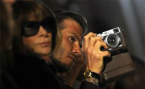 David Beckham and Anna Wintour, the Editor-in-Chief of the US edition of Vogue during the Victoria Beckham show