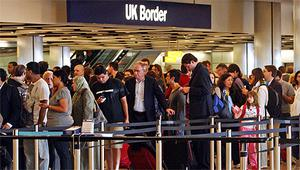Long queues at border control in  London's Heathrow Airport