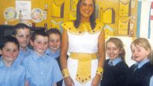 Michaela Harte in fancy dress at St Malachy's Primary School, where she had attended as a pupil and later performed her teaching placement