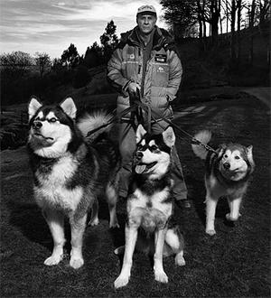 Sir Ranulph Fiennes with his dogs. Photo: PA