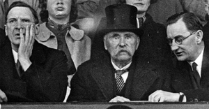 Taoiseach Eamon de Valera, President Douglas Hyde and Oscar Traynor watch as Ireland beat Poland in a soccer match at Dalymount Park in 1938. Hyde received a ban from the GAA for attending the game.
