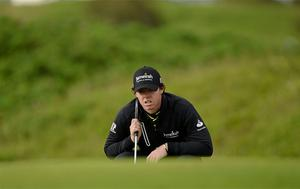 Rory McIlroy lines up his putt on the 12th green. Photo: Sportsfile