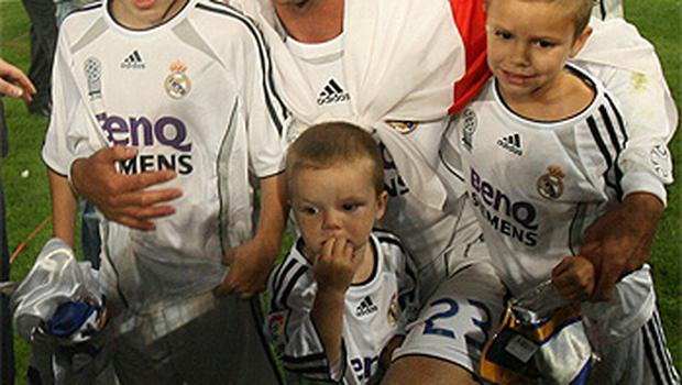 David Beckham pictured in Madrid with his three sons, from left, Brooklyn, Cruz and Romeo. It was during Beckhams spell with Real Madrid that allegations of an affair emerged. Photo: Gety Images