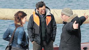 Aisling Loftus, Andy Serkis and Ian Fitzgibbon on the 'Superhero' set in Dun Laoghaire yesterday