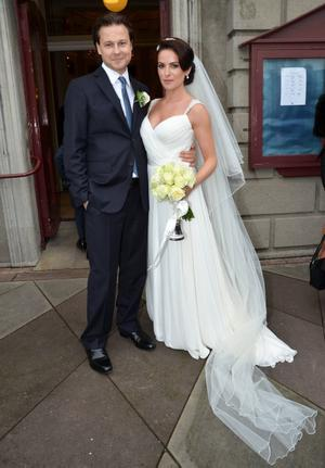Musician Colin Devlin & Actress Sonya Macari get married at the Church of the 3 Patrons in Rathgar, Dublin, Ireland - 19.10.12. Pictures: VIPIRELAND.COM  *** Local Caption *** Sonya Macari & Colin Devlin