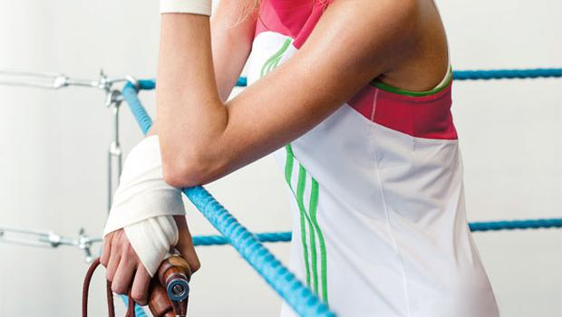 Long tank top, €35, Adidas (in store in March). Skipping rope, €12. Hand protectors, stylist's own