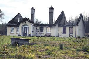 A home near Dromahair, Co Leitrim, which was destroyed by a gorse fire
