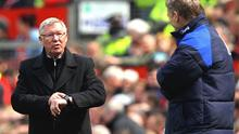Time keeper: Tension shows for Sir Alex Ferguson against Everton. Photo: Getty Images