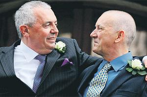 Thomas Cahalan and Nicholas Nelson, from Dublin, the second couple to be legally joined under the country's new civil partnership legislation
