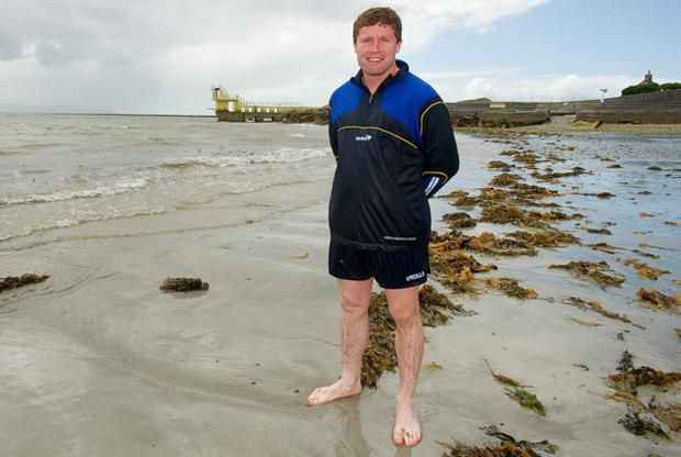 Galway star Damien Hayes goes through his daily routine at Salthill in a bid to overcome a knee injury. ANDREW DOWNES