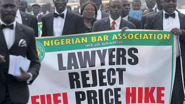 STRIKE: Members of the Nigerian Bar Association protest against the removal of subsidies on fuel, an issue which has sparked an indefinite national strike due to start tomorrow