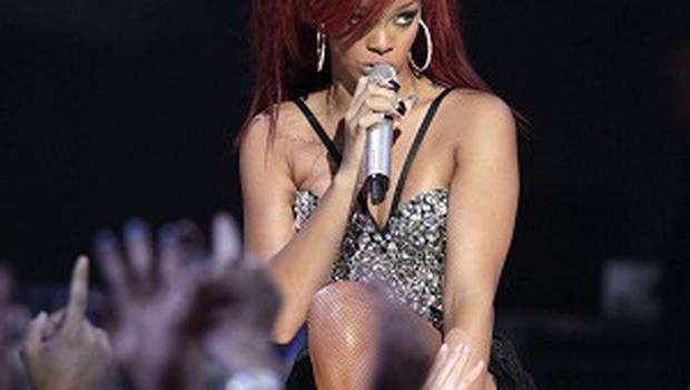 Rihanna performs during the half time show at the NBA basketball All-Star game (AP)