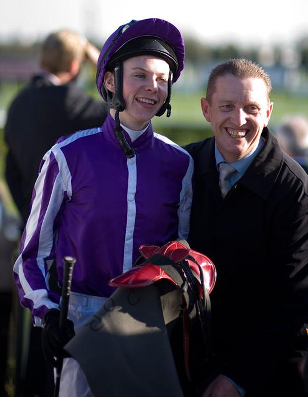 A delighted Joseph O'Brien after riding Camelot to win The Racing Post Trophy at Doncaster racecourse on October 22, 2011 in Doncaster, England. Photo: Getty Images