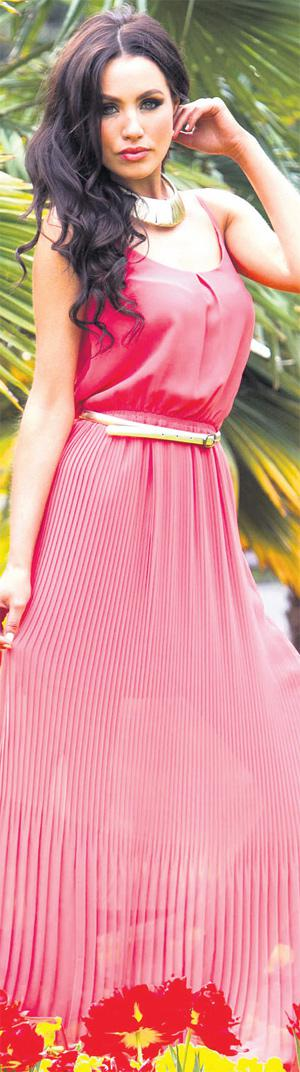 Model Sinead Noonan wears Coral Maxi Dress (€81) with Gladiator Sandals (€69) and Gold Torc (€20) all from the Oasis spring-summer 2012 collection PHOTOCALL