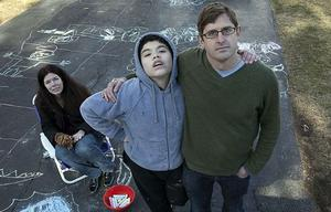 Delicate: autism sufferer Joey with his mother Carol and Louis Theroux. Photo: BBC