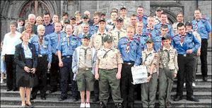 Dundalk scouts from Ireland and Maryland, USA outside St. Patrick's Cathedral.