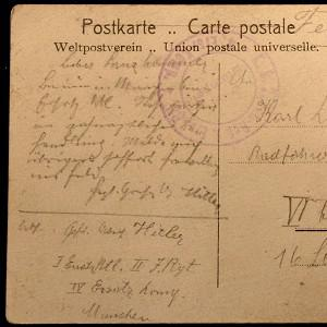 A recently discovered postcard which suggests Adolf Hitler was was surprisingly keen to return to the front line