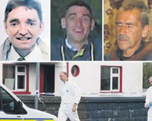 The victims, from top: Michael Beirne, John Kerr and Ian Finn. Garda forensic officers at the house in St Ciaran's Park, Roscommon town, where the three men were found dead