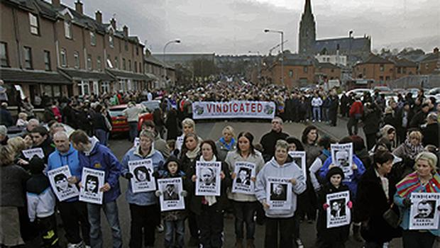 People gathered in the Bogside area to mark the 39th anniversary of Bloody Sunday