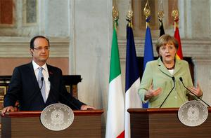 French President Francois Hollande with German Chancellor Angela Merkel