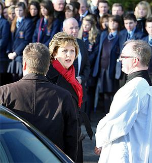 President Mary McAleese arrives at St Malachy's church in Ballygawley, Co Tyrone, for the funeral Mass of Michaela Harte