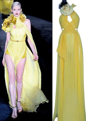 From left: Gucci corsage embellished chiffon dress; Yellow dress, €107, River Island, available from October