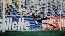 Former Ireland goalkeeper Packie Bonner making the famous penalty save during the Italia 90 shoot-out against Romania that made the Donegal man a national hero.