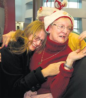 Kirsty Killeen, who returned from Australia for Christmas, with her mother, Jan