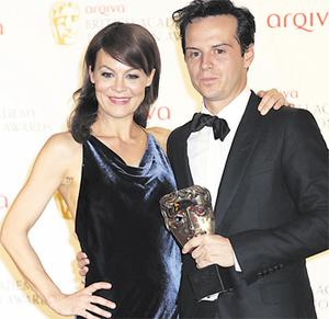 Dublin actor Andrew Scott with his award for Best Supporting Actor in 'Sherlock' as the villain Moriarty, pictured with presenter Helen McCroy