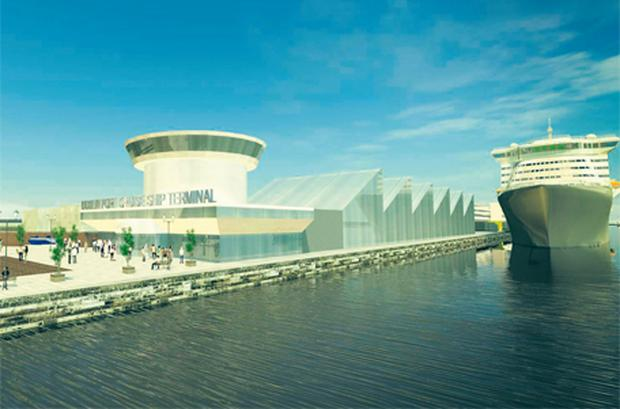 An artist's impression of the cruise ship terminal from Dublin Port's 30-year master plan which was launched yesterday