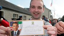 Henry Healy, Barack Obama's distant cousin, gets ticket 0001 for next week's US presidential visit to Moneygall