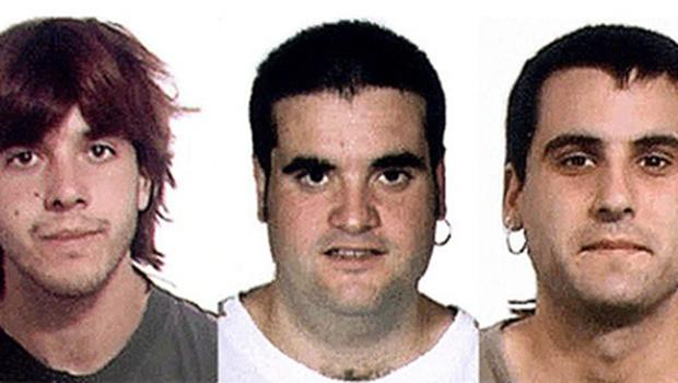 Pictures released by Spanish police shows the three suspected members of the separatist Basque group ETA arrested in Joigny, south of Paris