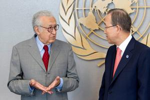 """Lakhdar Brahimi (L), newly-appointed Joint Special Representative of the United Nations and the League of Arab States for Syria meets with United Nation's Secretary-General Ban Ki-moon in New York in this handout photo supplied by the United Nations August 24, 2012. The Algerian diplomat told  Ban Ki-moon that he was """"honored, flattered, humbled and scared"""" at the prospect of leading international efforts to broker peace in Syria's worsening 17-month conflict.  REUTERS/J.C. McIlwaine/UN Photo/Handout  (UNITED STATES - Tags: POLITICS CONFLICT) NO ARCHIVES. FOR EDITORIAL USE ONLY. NOT FOR SALE FOR MARKETING OR ADVERTISING CAMPAIGNS. THIS IMAGE HAS BEEN SUPPLIED BY A THIRD PARTY. IT IS DISTRIBUTED, EXACTLY AS RECEIVED BY REUTERS, AS A SERVICE TO CLIENTS"""