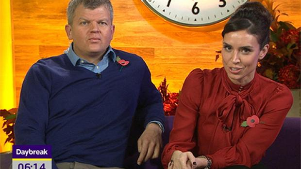 Adrian Chiles with co-host Christine Bleakley presenting Daybreak. Photo: PA