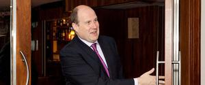 Ivan Yates leaving the creditors' meeting at the Pearse Hotel, Dublin,