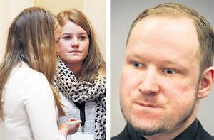 Utoya massacre survivor Siri Seim Soenstelie (left) and her sister Thea during the fifth day of the trial of Anders Behring Breivik (right).