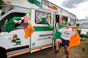 (from left) Garry Doyle, Mark Fetherston, David Coyle and Tim Kielty from Allenwood Co Kildare who are were the 1st Irish camper van to arrive in Poznan yesterday ahead of the Euro 2012. Photo: Mark Condren