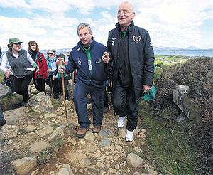 Taoiseach Enda Kenny and Republic of Ireland manager Giovanni Trapattoni during the 'Enda's Trek with Trap's Green Army' charity climb in Mayo