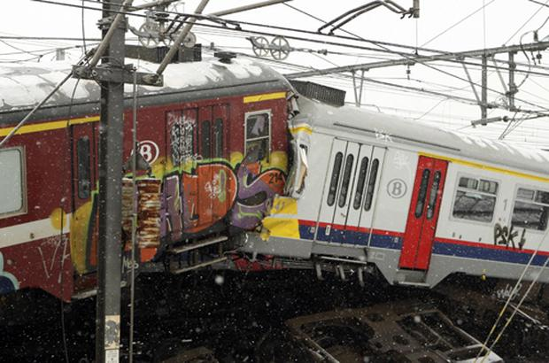 The two commuter trains collided head-on during rush hour. Photo: PA