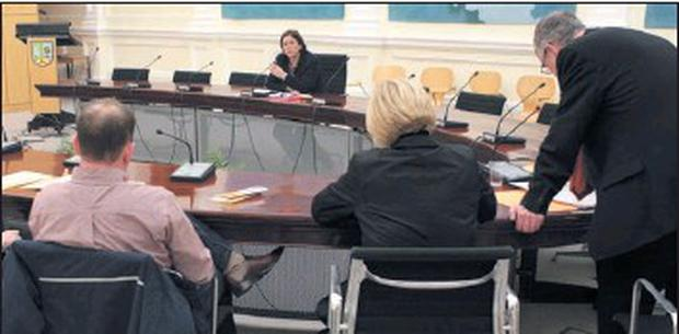 Historic gathering… Monday night's Borough Council sits without officials. Credit: Photo: Carl Brennan