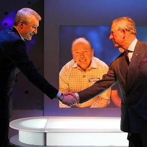 The Prince of Wales meets presenter Jeremy Vine while on a tour of the Eggheads set in Glasgow